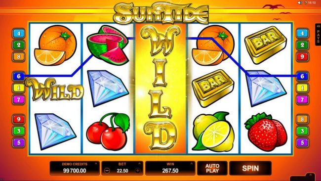 Golden Tiger featuring the Video Slots SunTide with a maximum payout of $75,000