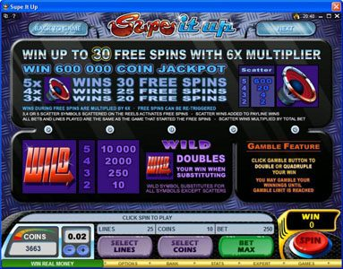 Vbet Casino featuring the Video Slots Supe It Up with a maximum payout of $25,000