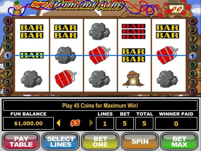 Play slots at Slotter: Slotter featuring the video-Slots Super Diamond Mine with a maximum payout of $250,000