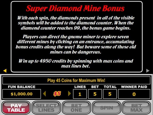 Slots.com featuring the video-Slots Super Diamond Mine with a maximum payout of $250,000