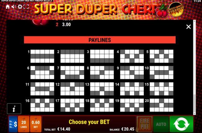 Super Duper Cherry Red Hot Firepot :: Paylines 1-20
