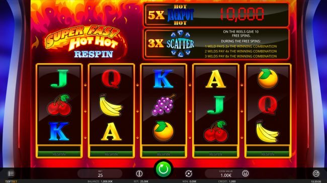 Videoslots featuring the Video Slots Super Fast Hot Hot Respin with a maximum payout of $10,000