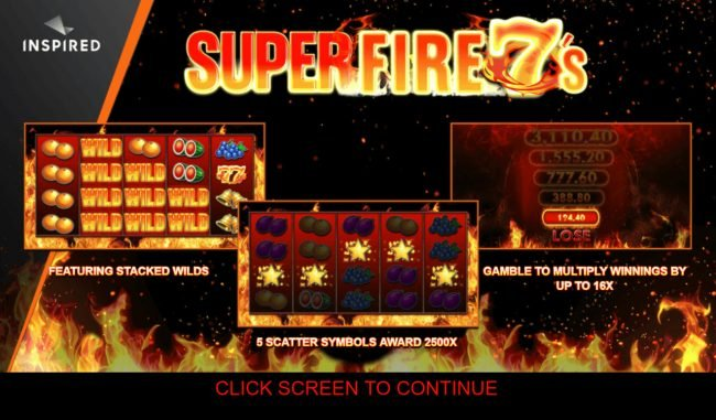 Conquer featuring the Video Slots Super Fire 7s with a maximum payout of $250,000
