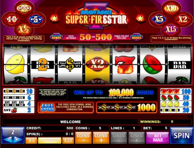 Play slots at Cbet: Cbet featuring the Video Slots Super Firestar with a maximum payout of $1,000,000