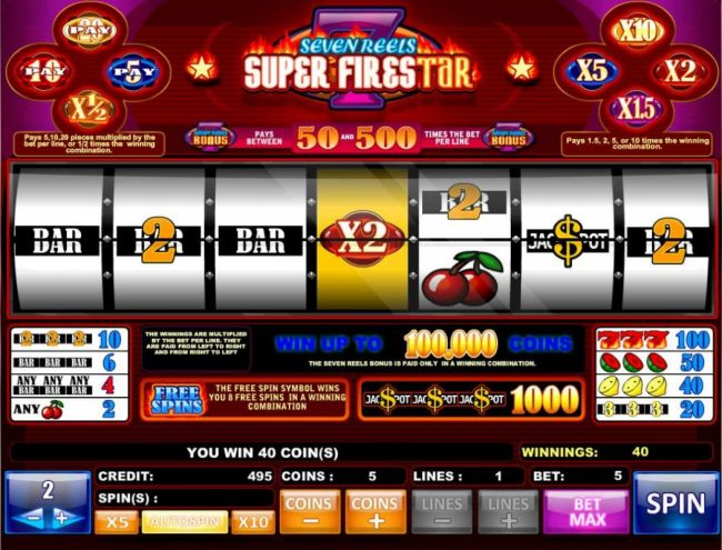 Tangiers featuring the Video Slots Super Firestar with a maximum payout of $1,000,000