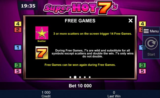 Three or more yellow star scatters on the screen trigger 14 free games.