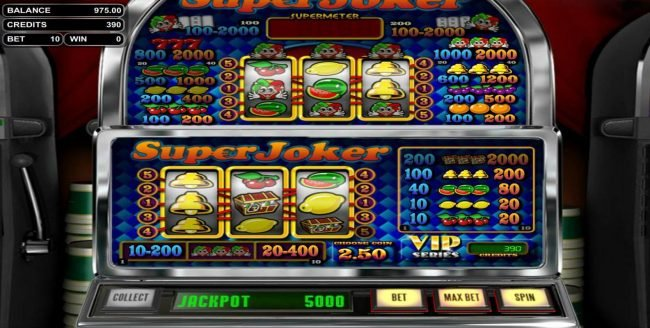 Top Bet featuring the Video Slots Super Joker with a maximum payout of $25,000