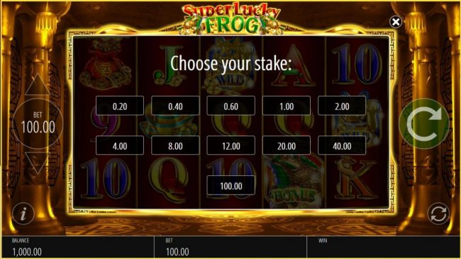 Casimba featuring the Video Slots Super Lucky Frog with a maximum payout of $50,000