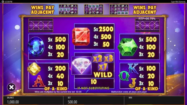 Casimba featuring the Video Slots Super Wild Diamonds with a maximum payout of $250,000