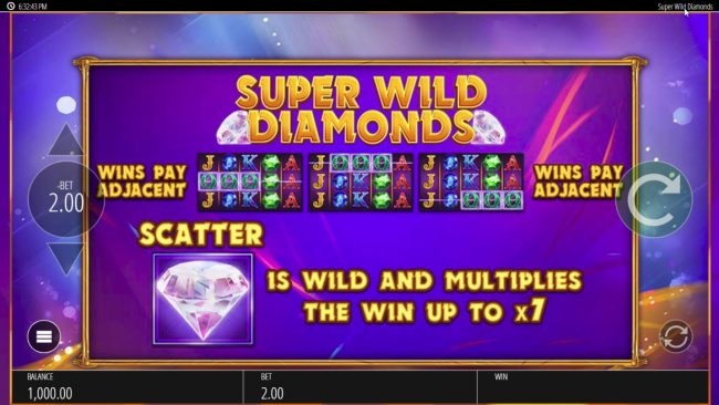 Play Club Casino featuring the Video Slots Super Wild Diamonds with a maximum payout of $250,000