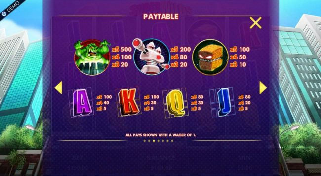 Slot game symbols paytable featuring alien monster inspired icons.
