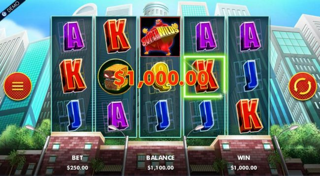 A winning Four of a Kind triggers a 1,000.00 line payout.