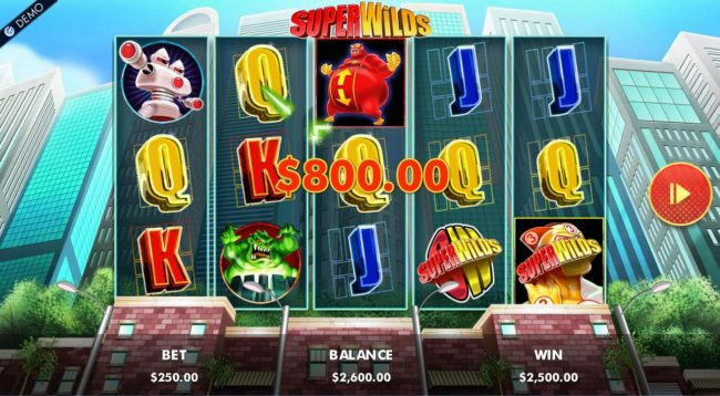 Any three wild symbol landing on the main game board triggers the Superwilds Free Spins feature.