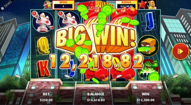 YouWin featuring the Video Slots Super Wilds Earth's Wildest Superheroes! with a maximum payout of $1,250,000