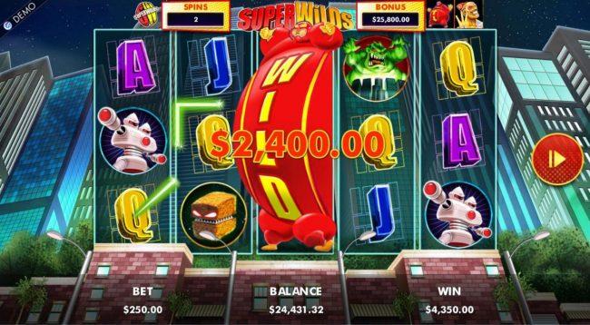A winning Five of a Kind leads to a 2,400.00 jackpot.
