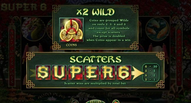 Plenty Jackpots featuring the Video Slots Super 6 with a maximum payout of $15,000