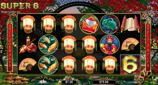 All Star Slots featuring the Video Slots Super 6 with a maximum payout of $15,000