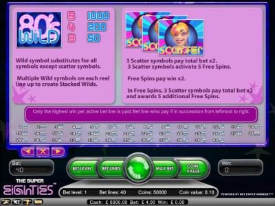emu Casino featuring the Video Slots Super Eighties with a maximum payout of $2,500