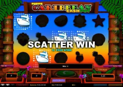 Four yacht scatter symbols triggers 10 free spins