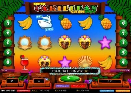 Total Free Spin Win 380 coins