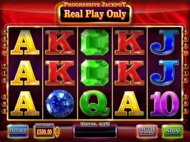 Main game board featuring five reels and 10 paylines with a progressive jackpot max payout