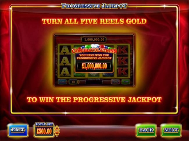 Turn all five reels gold to win the progressive jackpot