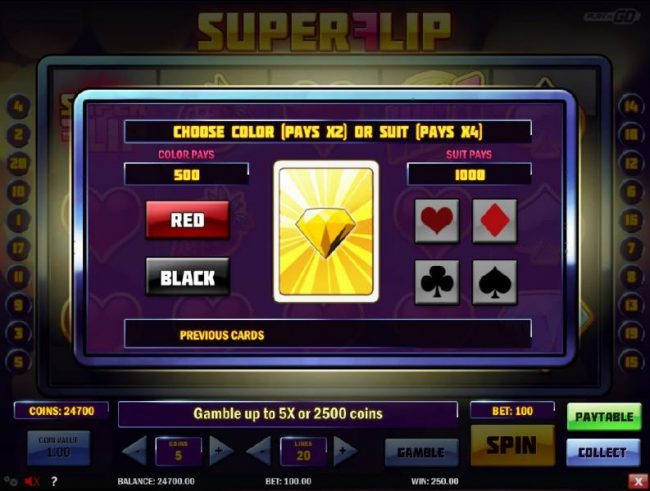 Casiplay featuring the Video Slots Super Flip with a maximum payout of $5,000,000
