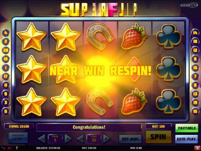 Play 24 Bet featuring the Video Slots Super Flip with a maximum payout of $5,000,000