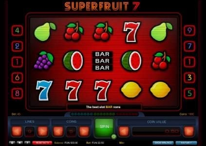Playgrand featuring the Video Slots Super Fruit 7 with a maximum payout of $2,385