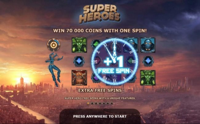 Super Heroes :: Win up to 70000 coins with one spin!