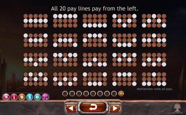 Super Heroes :: Payline Diagrams 1-20