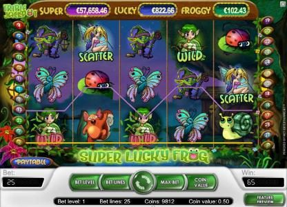 Powerspins featuring the Video Slots Super Lucky Frog with a maximum payout of $15,000