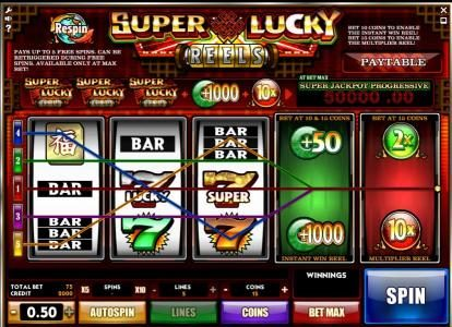 10Bet featuring the Video Slots Super Lucky Reels with a maximum payout of Jackpot