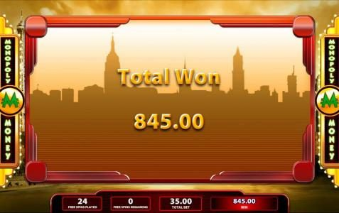 Super Monopoly Money :: The Free Spins feature apys out a total of $845.00