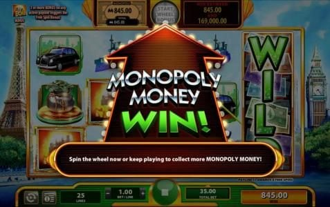 Super Monopoly Money :: Monopoly Money Win - Bonus Feature Triggered