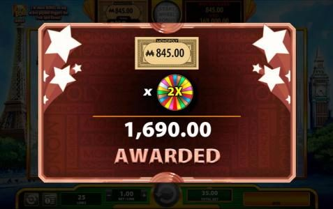 Super Monopoly Money :: Free Spins prize award is multiplied by the 2x money wheel multiplier for a total win of $1,690.00
