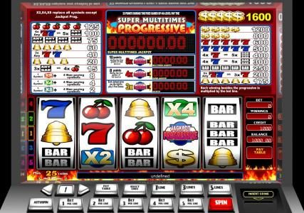 Play slots at Videoslots: Videoslots featuring the Video Slots Super Multitimes Progressive with a maximum payout of Jackpot