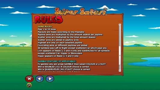 Norske Casino featuring the Video Slots Super Safari with a maximum payout of $10,000