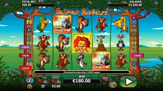 Conquer featuring the Video Slots Super Safari with a maximum payout of $10,000