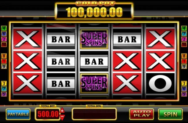 Super Spins Bar X :: Main game board featuring five reels and 10 paylines with a $250,000 max payout