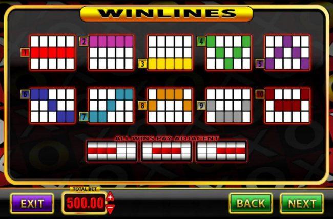 Super Spins Bar X :: Payline Diagrams 1-10