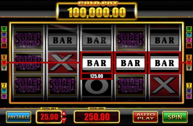 Super Spins Bar X :: A pair of winning paylines triggers a 250.00 jackpot.