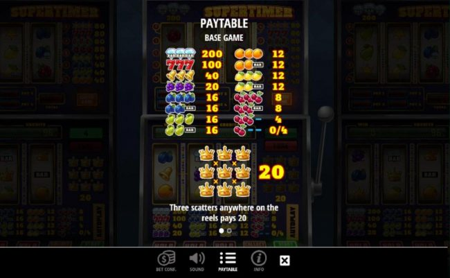Slot game symbols paytable Base Game