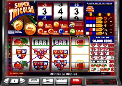 Super Tricolor :: multiple winning paylines triggers a $136 payout