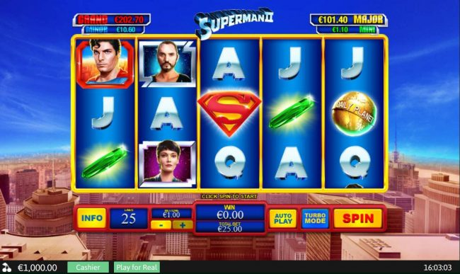 A superhero themed main game board featuring five reels and 25 paylines with a progressive jackpot max payout