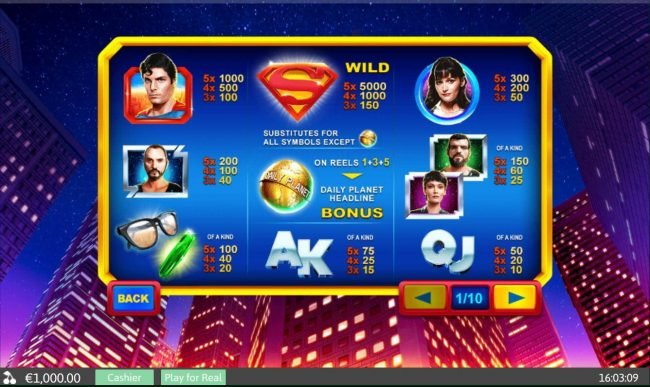 Slot game symbols paytable featuring Superman movie inspired  icons.