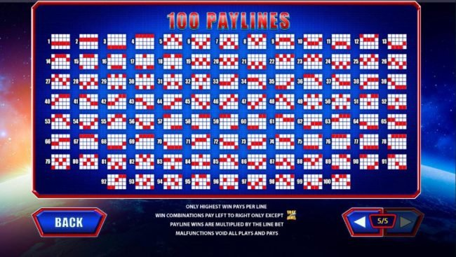 Payline Diagrams 1-100. Only highest win pays per line. Win combinations pay left to right only except scatters. Paylines are multiplied by the line bet.