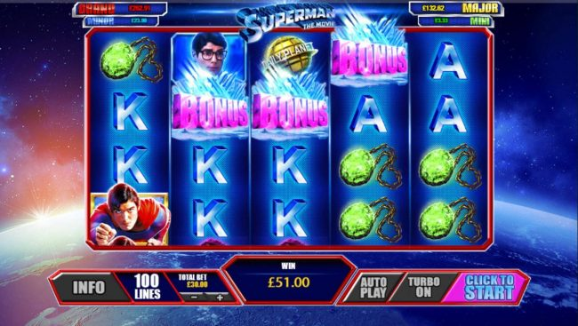 Giant Vegas featuring the Video Slots Superman the Movie with a maximum payout of $225,000