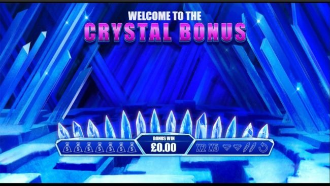 Crystal Bonus Game Board - Select crystal to reveal prizes