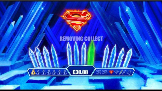Finding the Superman shield will remove one of the green crystals.